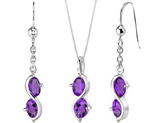 2 Stone 2.25 carats Oval Shape Sterling Silver Amethyst Pendant Earrings Set