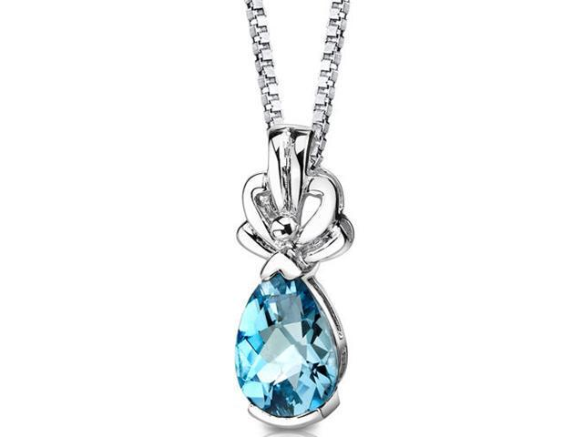 Royal Grace: Sterling Silver 2.25 carats Pear Shape Checkerboard Cut Swiss Blue Topaz Pendant with 18 inch Silver Necklace and