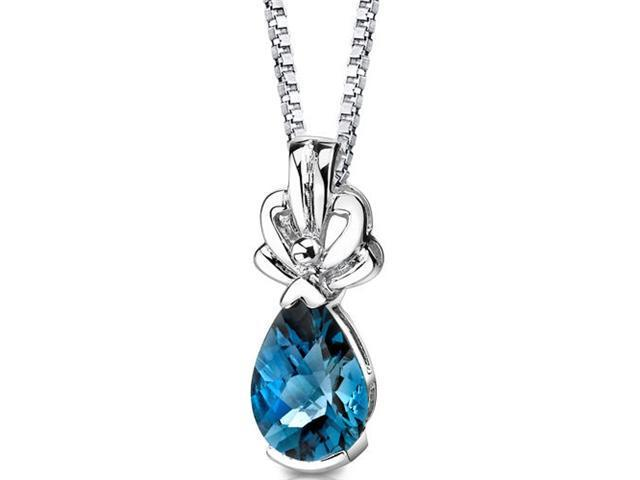Royal Grace: Sterling Silver 2.25 carats Pear Shape Checkerboard Cut London Blue Topaz Pendant with 18 inch Silver Necklace and
