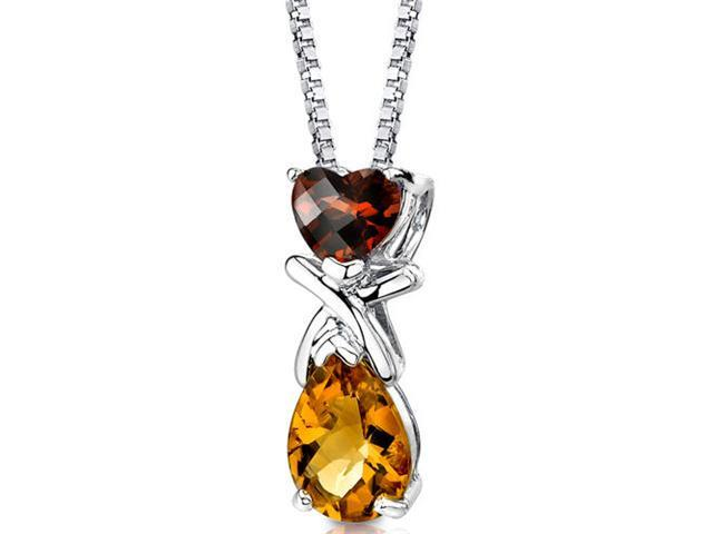 Irresistible Allure: Sterling Silver 2.50 carats Multishape Checkerboard Cut Garnet and Citrine Pendant with 18 inch Silver Necklace