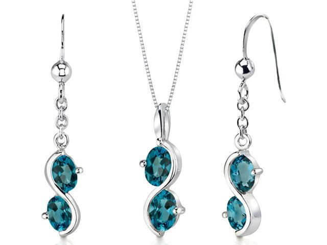 Oravo SS3398 3.75 cttw 2-Stone Oval Shape Sterling Silver London Blue Topaz Pendant Earrings Set