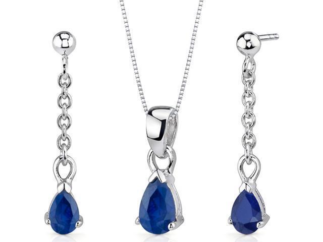 Dangling 2.00 carats Pear Shape Sterling Silver Sapphire Pendant Earrings Set