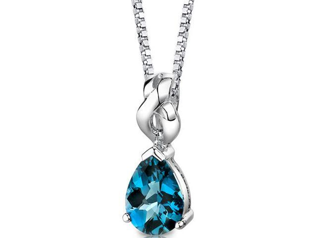 Mysterious Allure: Sterling Silver 2.25 carats Pear Shape Checkerboard Cut London Blue Topaz Pendant with 18 inch Silver Necklace and