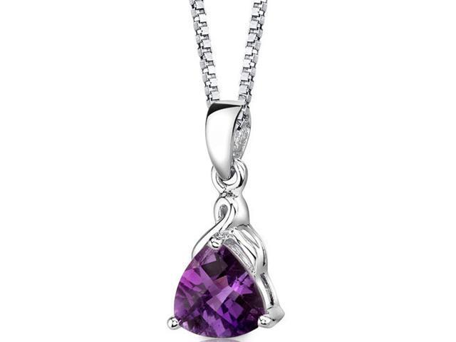 Sensual Splendor: Sterling Silver 1.50 carats Trillion Checkerboard Cut Amethyst Pendant with 18 inch Silver Necklace and