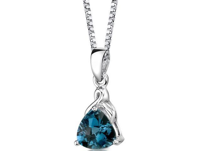 Sensual Splendor: Sterling Silver 2.00 carats Trillion Checkerboard Cut London Blue Topaz Pendant with 18 inch Silver Necklace and