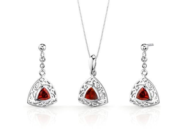 Filigree Design 1.50 carats Trillion Cut Sterling Silver Garnet Pendant Earrings Set