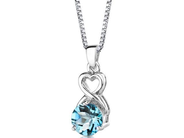 Magical Romance: Sterling Silver 2.25 carats Round Shape Checkerboard Cut Swiss Blue Topaz Pendant with 18 inch Silver Necklace and