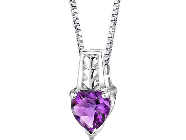 Cherished Forever: Sterling Silver 1.50 carats Heart Shape Checkerboard Cut Amethyst Pendant with 18 inch Silver Necklace and