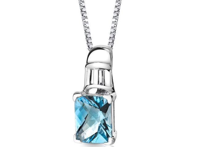 Ravishing Beauty: Sterling Silver 3.50 carats Radiant Checkerboard Cut Swiss Blue Topaz Pendant with 18 inch Silver Necklace and