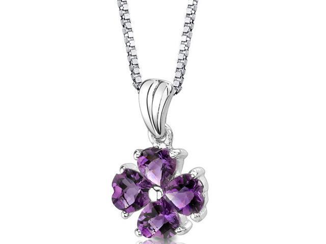 Irresistible Desire: Sterling Silver 1.50 carats Heart Shape Checkerboard Cut Amethyst Pendant with 18 inch Silver Necklace and