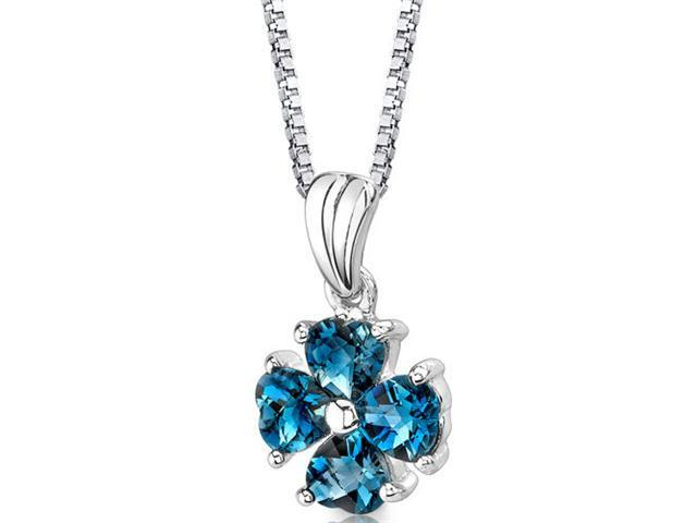 "Oravo SP8722 2.00Ct Heart Shaped London Blue Topaz in Sterling Silver Pendant with 18"" Necklace"