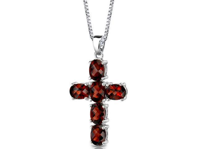 Radiant Glory: Sterling Silver 6.00 carats Oval Shape Checkerboard Cut Garnet CROSS Pendant with 18 inch Silver Necklace and