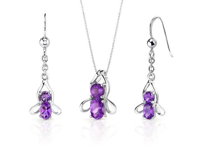 Bee Design 2.50 carats Oval Round Cut Sterling Silver Amethyst Pendant Earrings Set