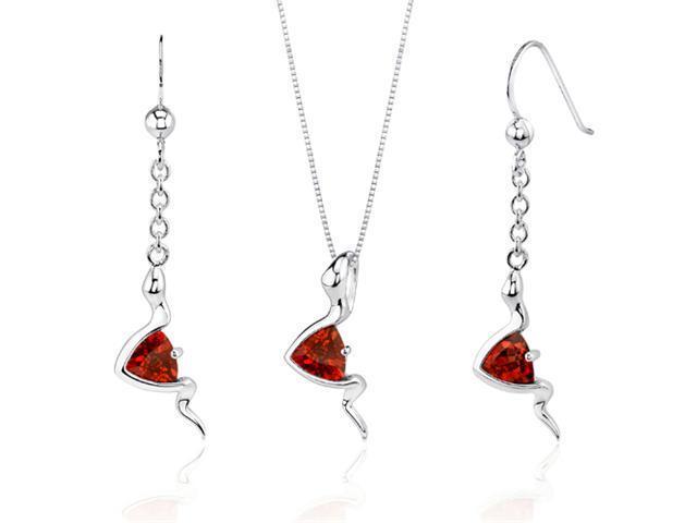 Contemporary Style 1.50 carats Trillion Cut Sterling Silver Garnet Pendant Earrings Set
