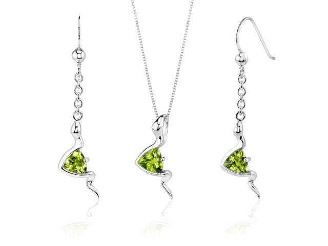 Contemporary Style 1.50 carats Trillion Cut Sterling Silver Peridot Pendant Earrings Set