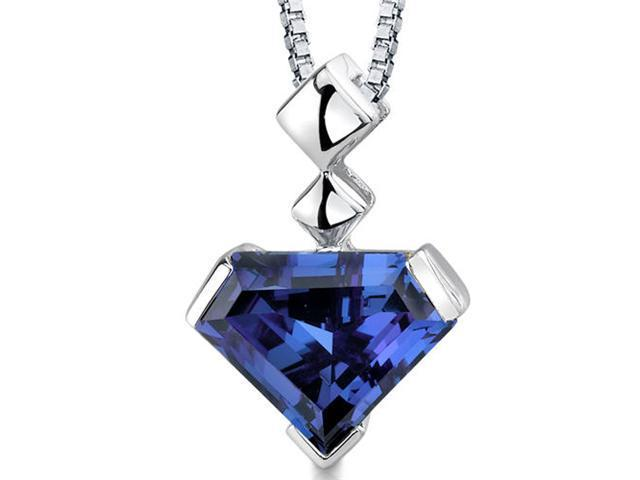 6.25Ct. Superman Cut Alexandrite Sterling Silver Pendant w/ 18