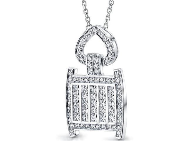 Inspired Extravagance: Sterling Silver Pendant Necklace with CZ Diamonds