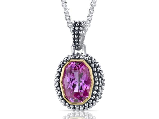 Barrel Cut 7.75 carat Pink Sapphire Sterling Silver Antique Style Pendant