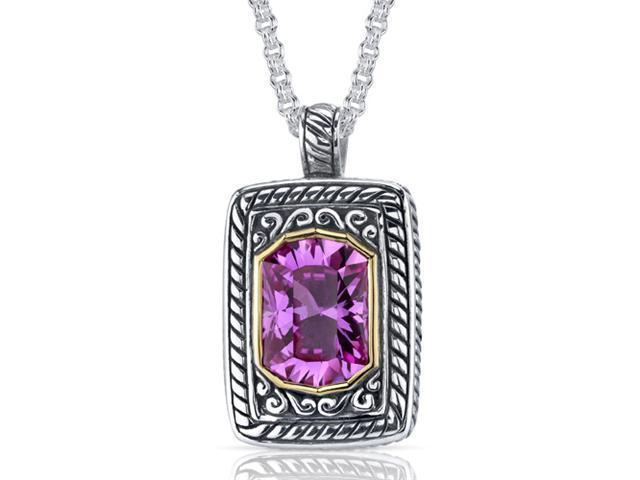 Baroness Cut 8.00 carat Pink Sapphire Sterling Silver Locket Style Pendant