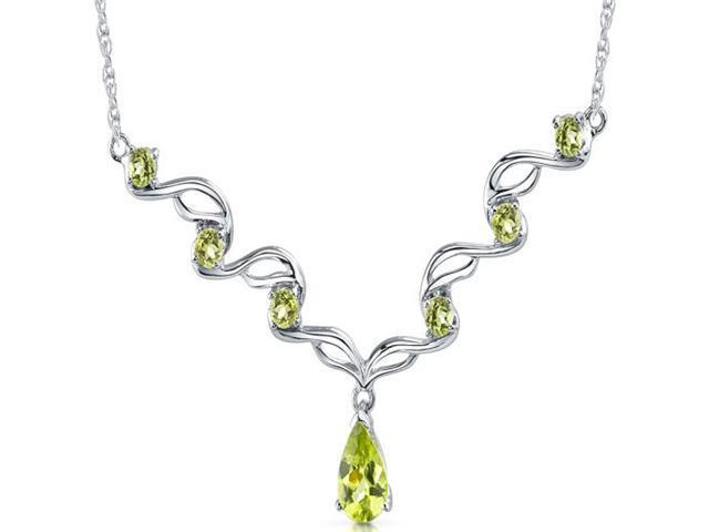Eye catchy 2.50 carats total weight Pear & Round Shape Peridot Multi-Gemstone Necklace in Sterling Silver