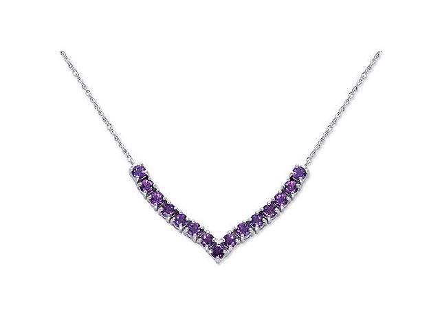 Elegant 2.25 carats total weight Round Shape Amethyst Gemstone Pendant Necklace in Sterling Silver