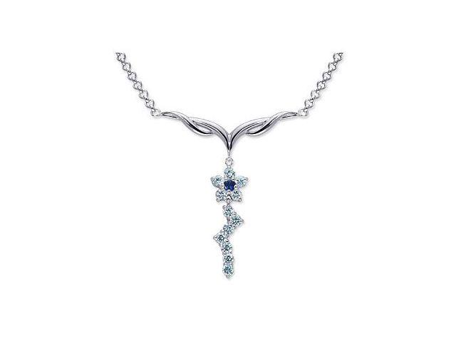 Beautiful Round Shape Created Sapphire & White CZ Pendant Necklace in Sterling Silver