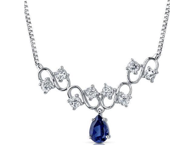Unique Pear Shape Created Sapphire & White CZ Pendant Necklace in Sterling Silver