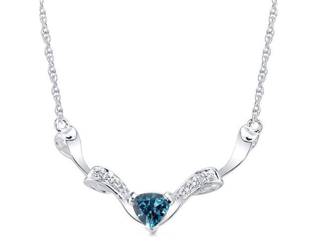 Elegant 1.50 carats total weight Trillion Cut London Blue Topaz & White CZ Gemstone Necklace in Sterling Silver