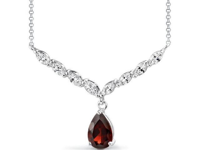 Luminous Beauty: 3.50 carats total weight Pear Shape Garnet & White CZ Gemstone Necklace in Sterling Silver