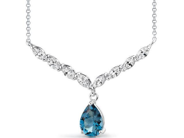 Luminous Beauty: 3.00 carats total weight Pear Shape London Blue Topaz & White CZ Gemstone Necklace in Sterling Silver