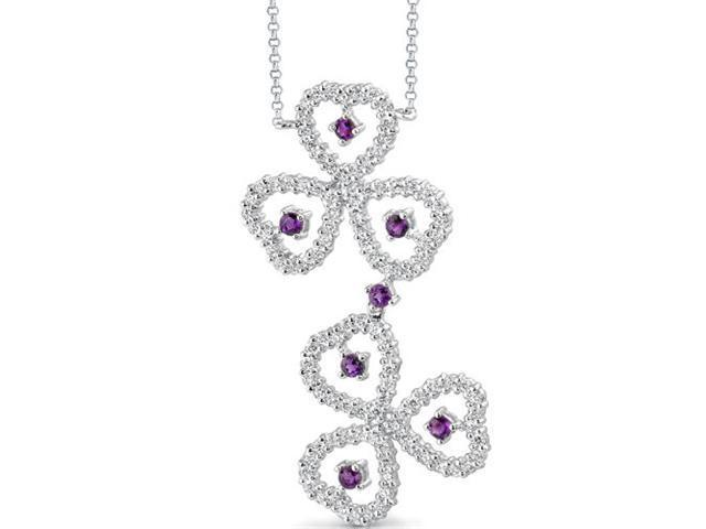 Destined to Dazzle: 0.75 carat total weight Round Shape Amethyst & White CZ Gemstone Necklace in Sterling Silver