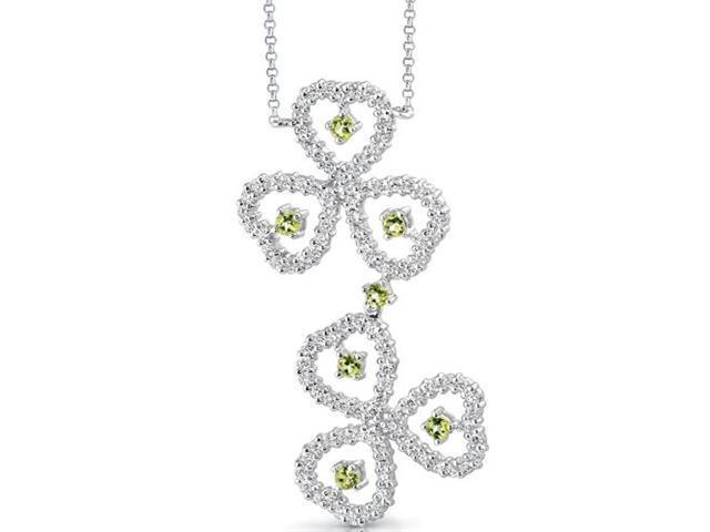 Destined to Dazzle: 0.75 carat total weight Round Shape Peridot & White CZ Gemstone Necklace in Sterling Silver