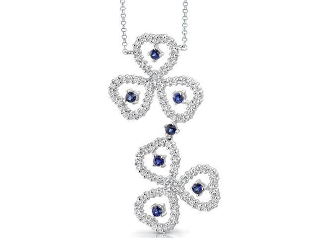 Destined to Dazzle: Round Shape Sapphire & White CZ Gemstone Necklace in Sterling Silver
