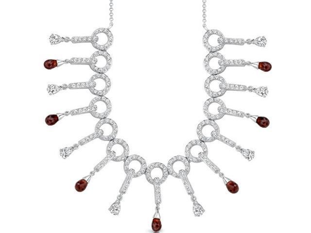 Dainty Chic: 5.50 carats total weight Briolette Drop Garnet & White CZ Gemstone Necklace in Sterling Silver