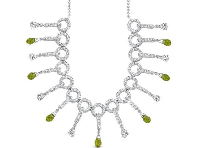 Dainty Chic: 4.75 carats total weight Briolette Drop Peridot & White CZ Gemstone Necklace in Sterling Silver