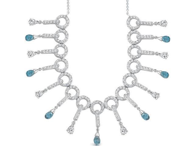 Dainty Chic: 5.00 carats total weight Briolette Drop London Blue Topaz & White CZ Gemstone Necklace in Sterling Silver