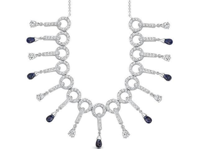 Dainty Chic: Briolette Drop Sapphire & White CZ Gemstone Necklace in Sterling Silver