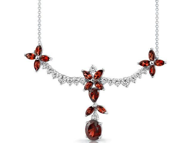 Glamorous Allure: 7.75 carats total weight Multishape Garnet & White CZ Gemstone Necklace in Sterling Silver