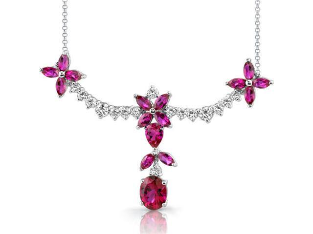 Glamorous Allure: Multishape Ruby & White CZ Gemstone Necklace in Sterling Silver