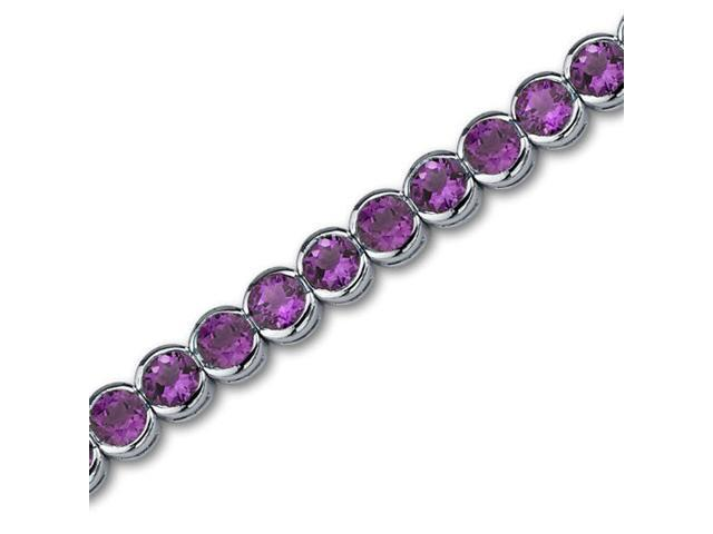 Must Have Awesome 16.00 carats total weight Round Cut Amethyst Gemstone Tennis Bracelet in Sterling Silver