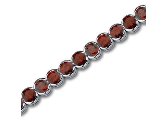 Must Have Chic 19.75 carats total weight Round Cut Garnet Gemstone Tennis Bracelet in Sterling Silver