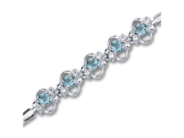 Trendy & Simple 1.50 carats total weight Round Shape Swiss Blue Topaz & White CZ Gemstone Bracelet in Sterling Silver
