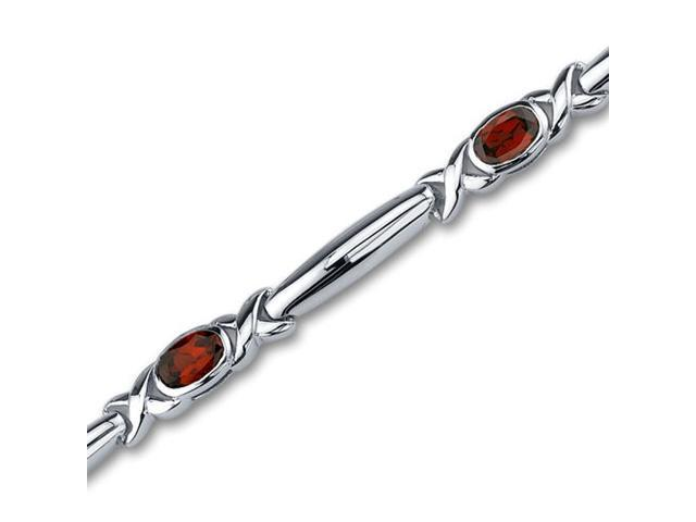 Modern Style 2.75 carats total weight Oval Cut Garnet Gemstone Bracelet in Sterling Silver