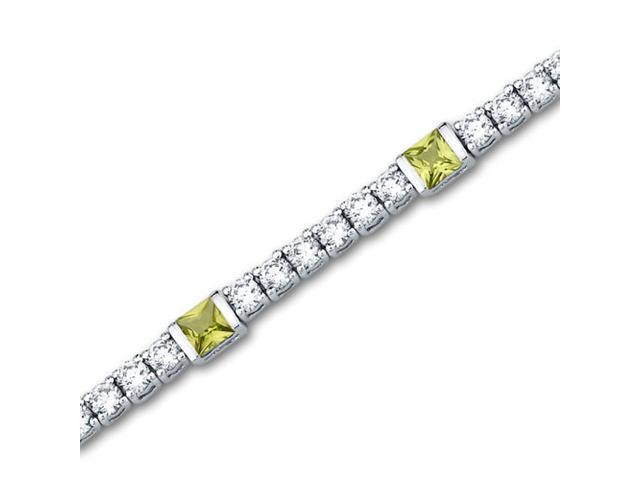 One of a Kind Design 2.25 carats total weight Princess Cut Peridot & White CZ Gemstone Bracelet in Sterling Silver