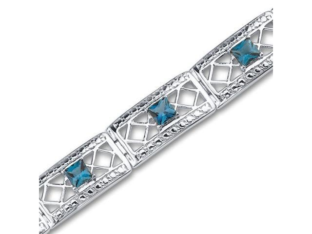 Victorian Style 4.00 carats total weight Princess Cut London Blue Topaz Gemstone Bracelet in Sterling Silver