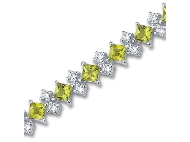 Distinctive Design 12.50 carats total weight Princess Cut Peridot White CZ Gemstone Bracelet in Sterling Silver
