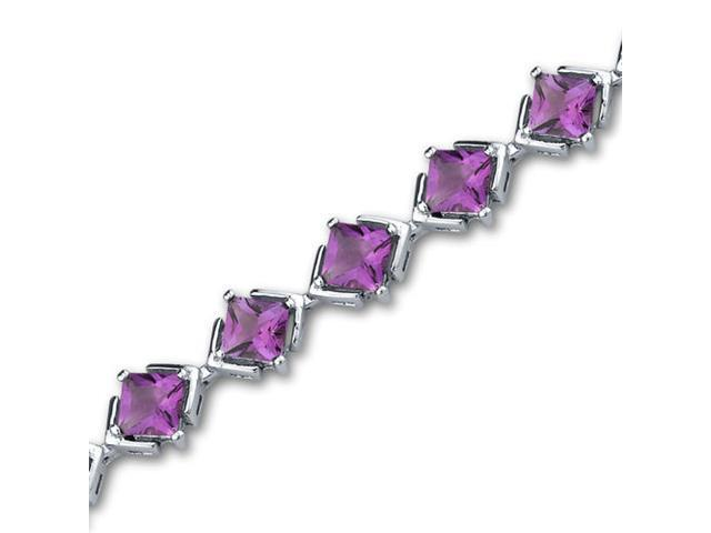 Classy & Elegant 8.00 carats total weight Princess Cut Amethyst Gemstone Bracelet in Sterling Silver