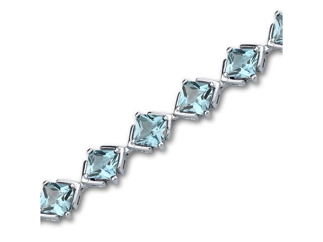 Classy & Elegant 12.00 carats total weight Princess Cut Swiss Blue Topaz Gemstone Bracelet in Sterling Silver