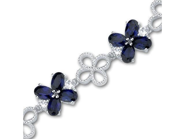 Antique Flower Design Oval Cut Created Sapphire & White CZ Gemstone Bracelet in Sterling Silver