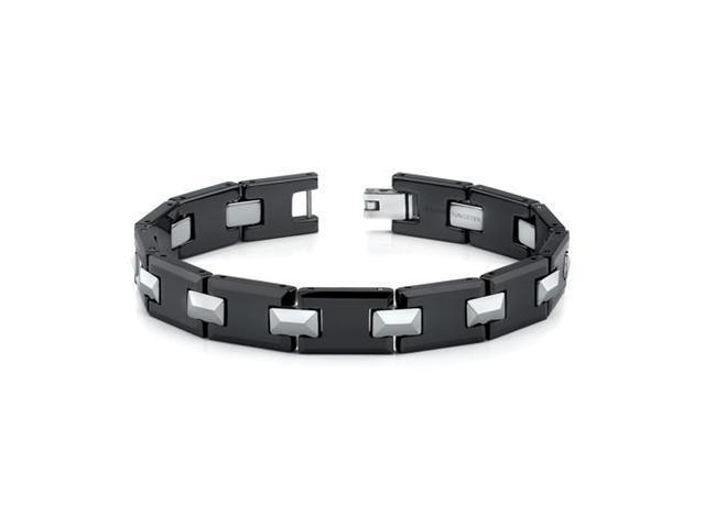 Tungsten and Ceramic Link Bracelet for Men